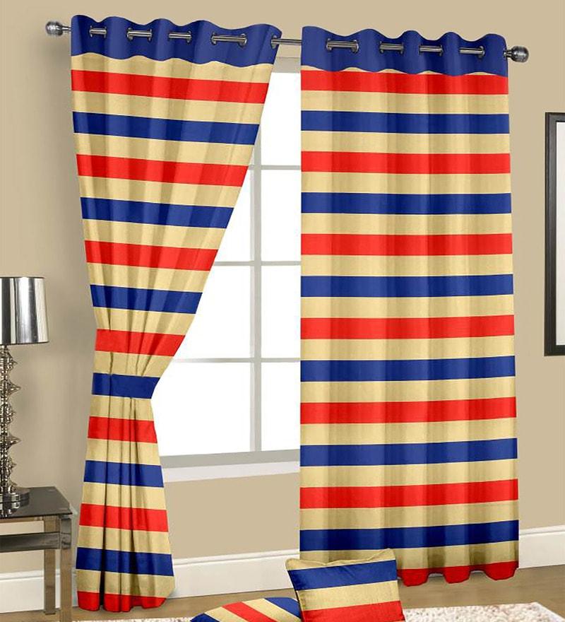 Multicolour Satin Geometric Door Curtain - Set of 2 by Cortina