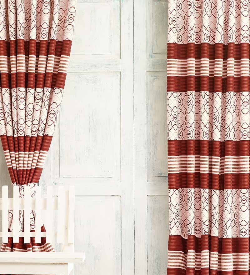 Brown Jacquard Premium Mixed Pattern Door Curtain- Set of 2 by Cortina