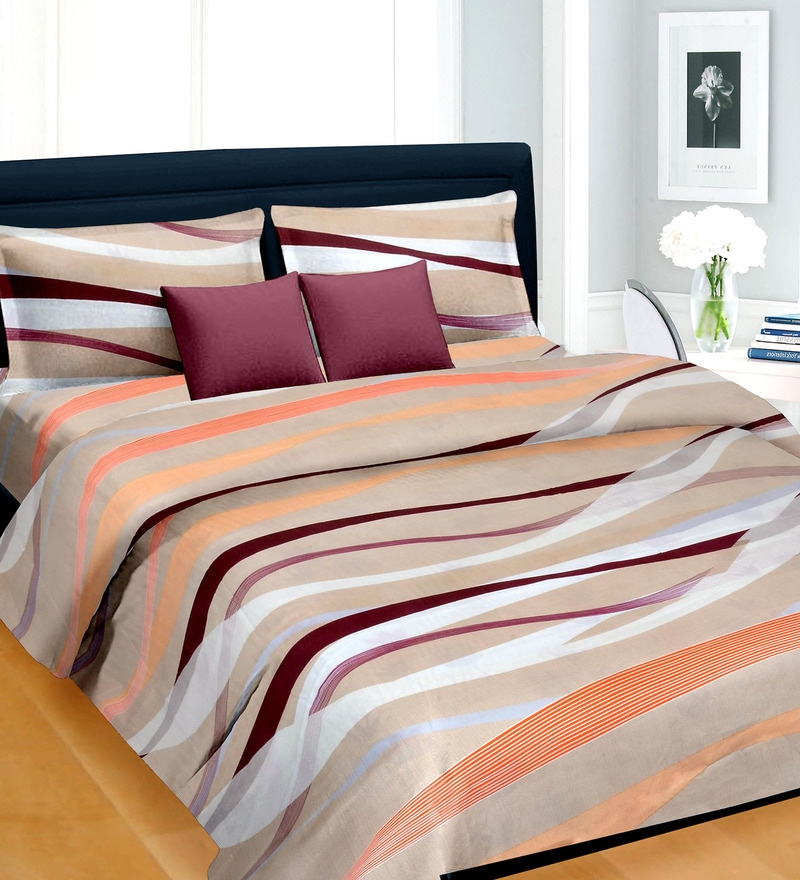 Multicolored Satin Geometric Pattern 100 x 90 Inch Double Bed Sheet (with Pillow Covers) by Cortina