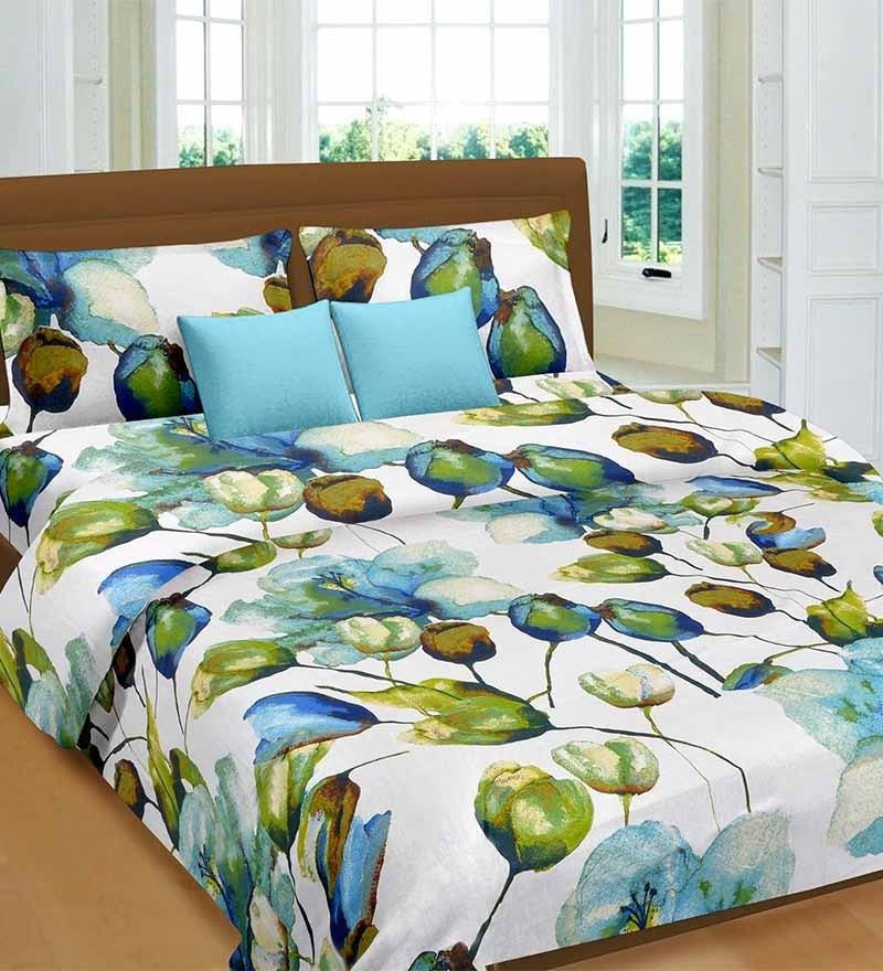 Premium Blue Cotton Tulip & Lilie Bed Sheet - Set of 3 by Cortina