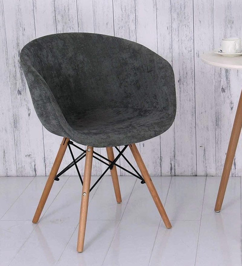 Cory Fabric Chair in Dark Grey Colour by Bohemiana