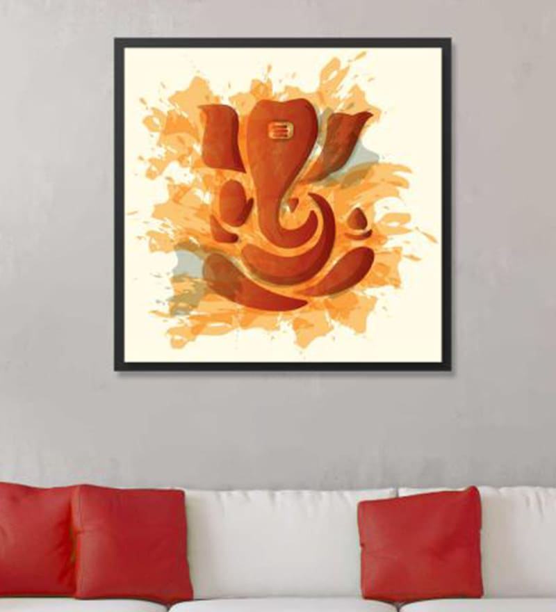 Cotton Canvas 36 x 1.5 x 36 Inch Ganesha Brown in Water Framed Digital Art Print by Cotton Canvas