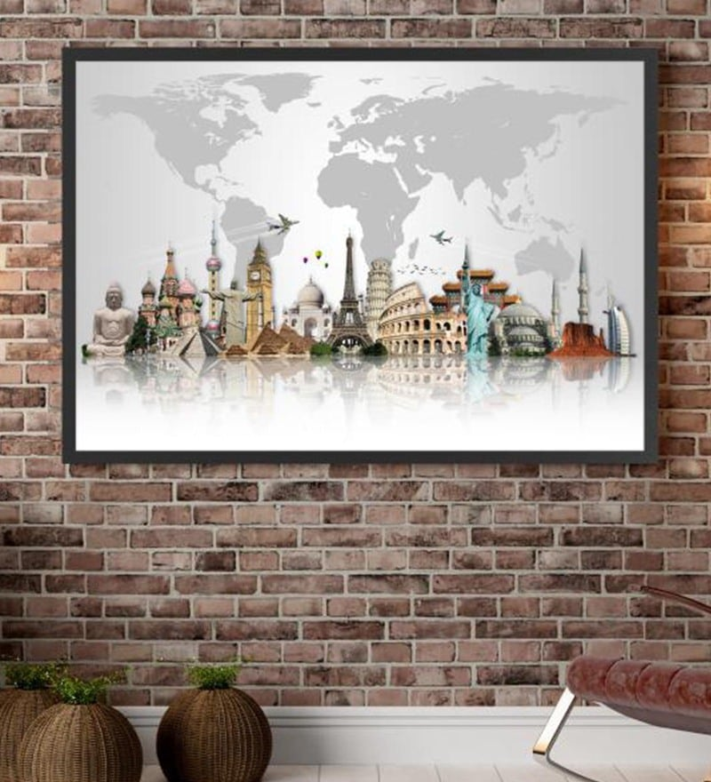 Cotton Canvas 60 x 1.5 x 48 Inch Travel The World Muments Framed Digital Art Print by Cotton Canvas