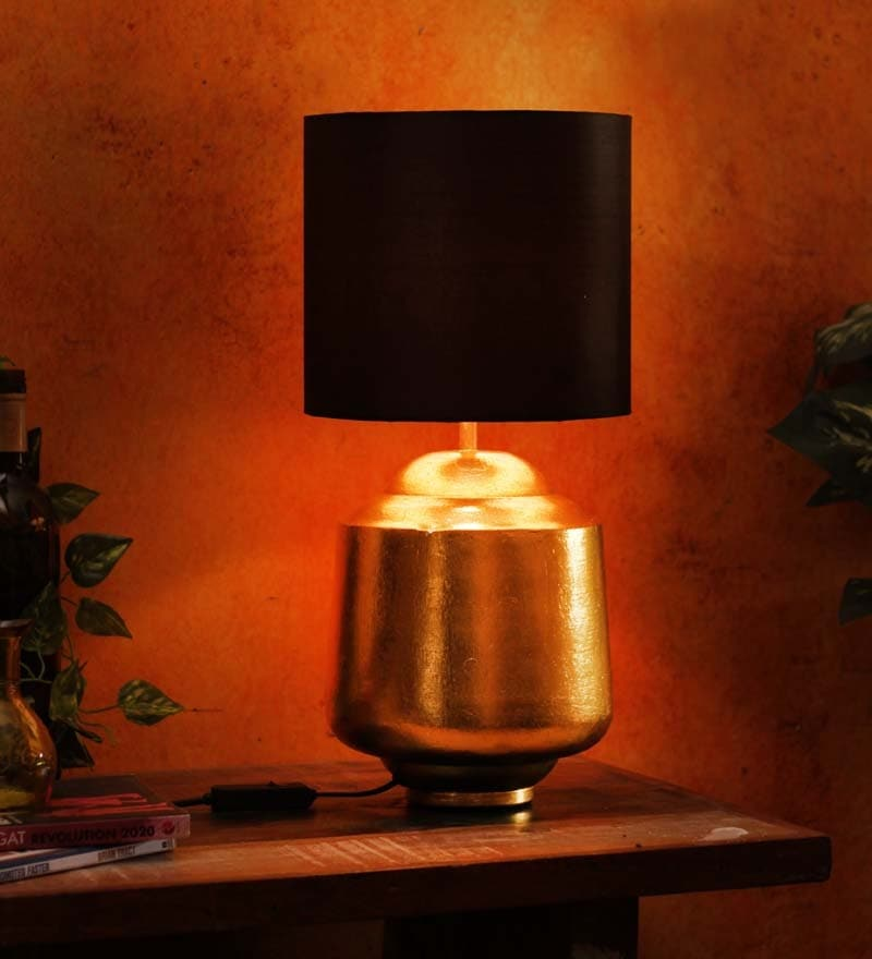 Ajmeri Lamp Table In Gold Base And Black Shade by Courtyard