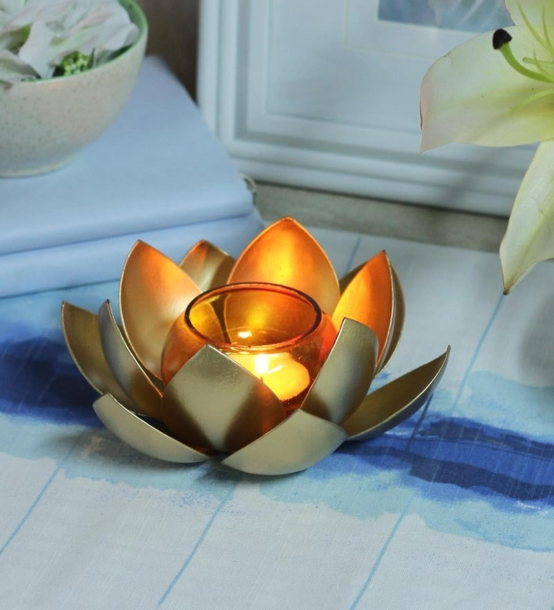 Gold Iron Hanging Tea Light Holder with Orange Glass by Courtyard