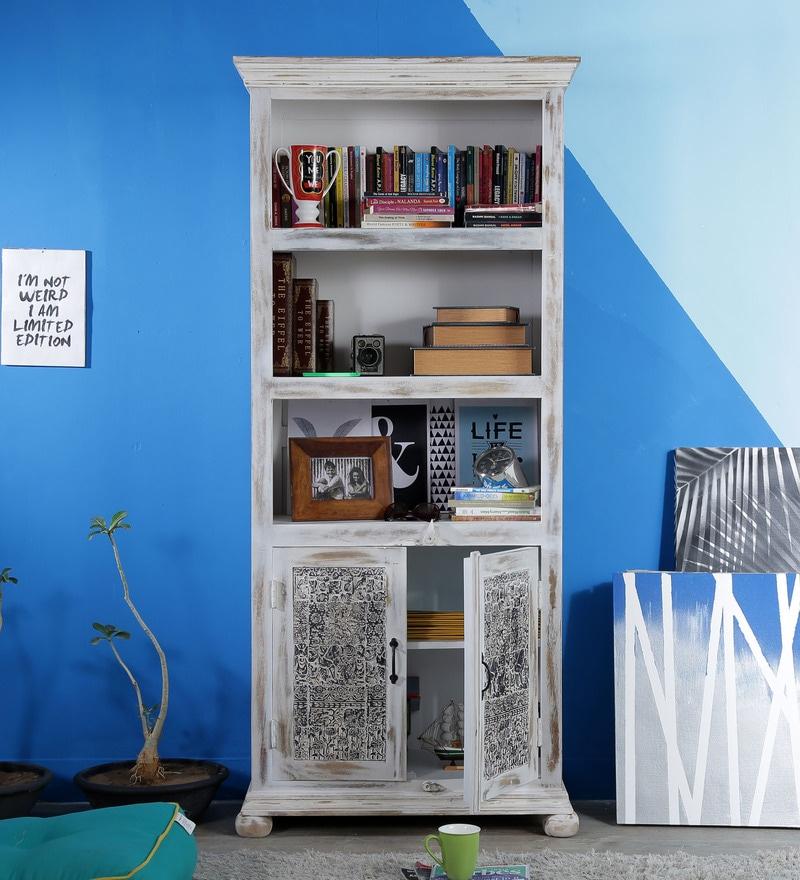 Palmer Book Shelf Cum Hutch Cabinet in Distress Finish by Bohemiana