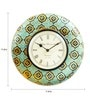 Blue Wooden 12 Inch Round Peacock Wall Clock by Cocovey