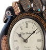 Multicolour Wooden 12 Inch Round Peacock Wall Clock by Cocovey