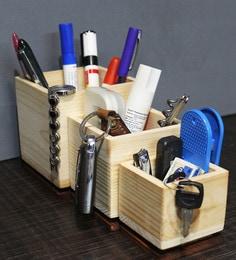 Creame Pine Wood & Sagoon Wood Tabletop Organizer Box