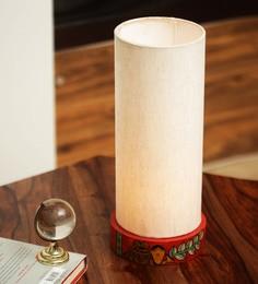 Cream Canvas & Plastic Cranberry Elephant Madhubani Hand Painted Table Lamp