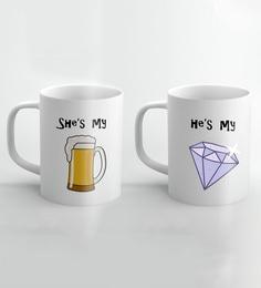 Crude Area Multicolor Beer Diamond Ceramic Mugs - Set Of 2