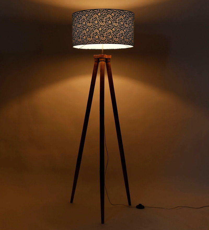 Green Fabric Tripod Floor Lamp by Craftter