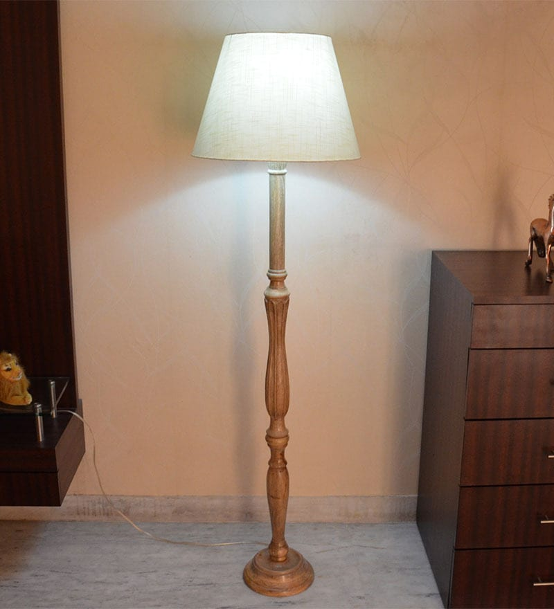 White Acrylic Fused with Cloth Floor Lamp by Craftter