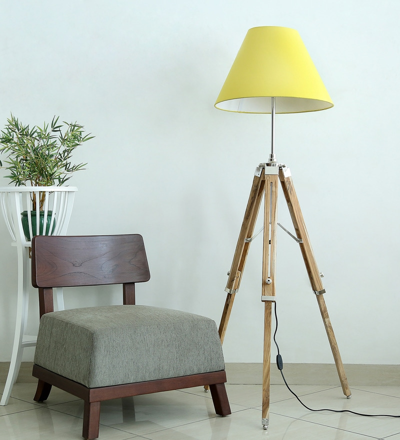 Matka Silk Yellow Fabric Tripod Floor Lamp by Craftter