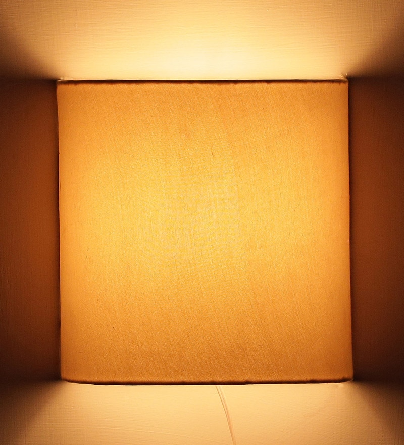 Plain Beige Half Shade Fabric Wall Lamp by Craftter