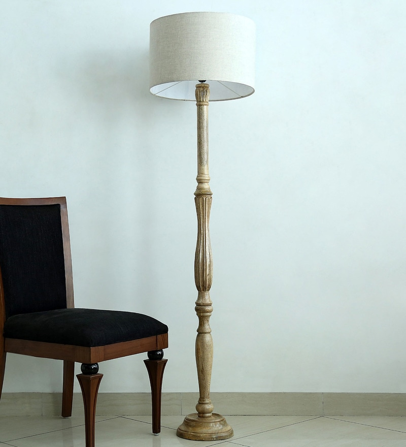 Pure Linen Grey Fabric Tripod Floor Lamp by Craftter