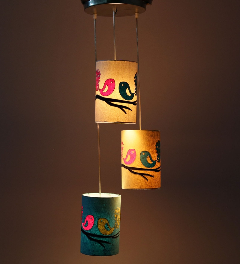 Full Birds Multicolour 5W LED Hanging Lamp - Set of 3 by Craftter