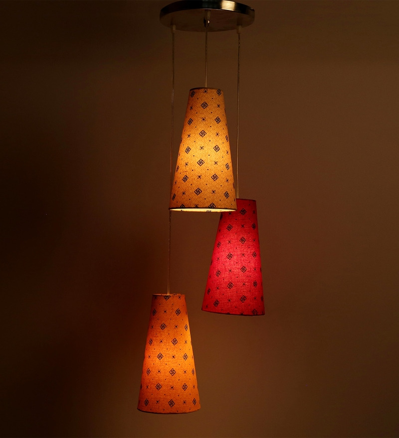 Set Of 3 Swastika Design Beige, Red And Yellow Color Hanging Lamp by Craftter