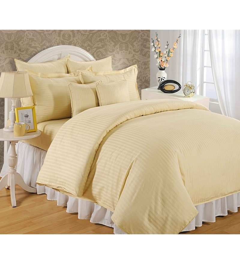 Cream Cotton King Size Bedsheet - Set of 3 by Swayam