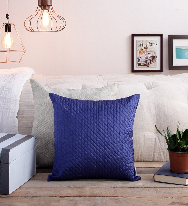 Blue Polyester 16 x 16 Inch Self Design Cushion Cover by Creative Homez