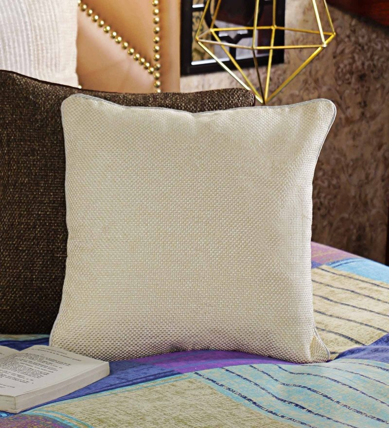 Cream Jute 16 x 16 Solid Cushion Cover by Creative Homez
