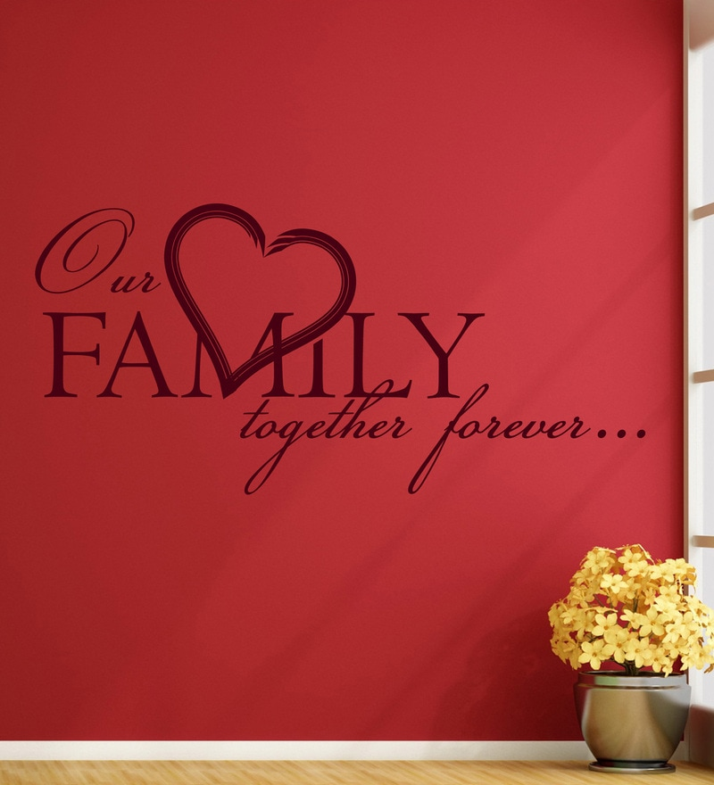 Vinyl Our Family One Wall Sticker in Burgundy by Creative Width