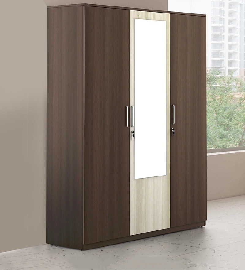 Crescent Three Door Wardrobe with Mirror in Dark Acacia Finish by Spacewood