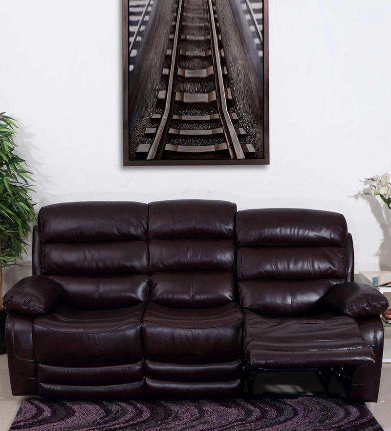 Croatia Three Seater Manual Recliner Sofa in Dark Red Leatherette by Evok
