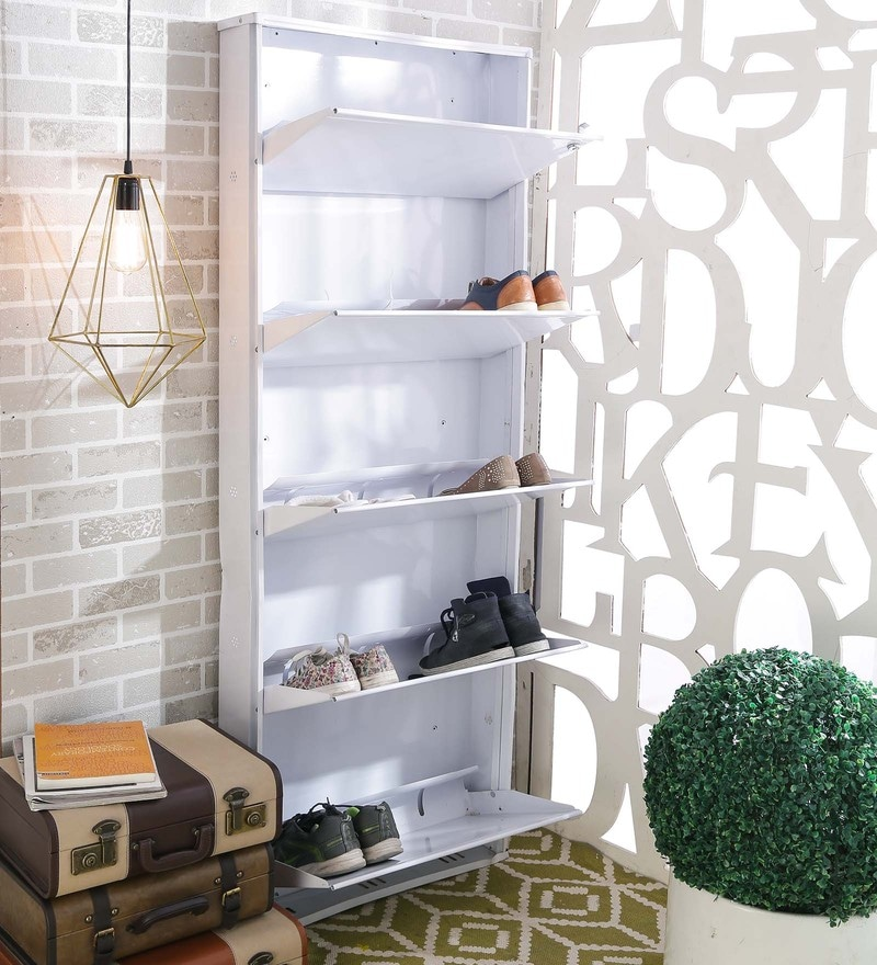 Crust Super Wide Metal White 5 Shelves Shoe Rack