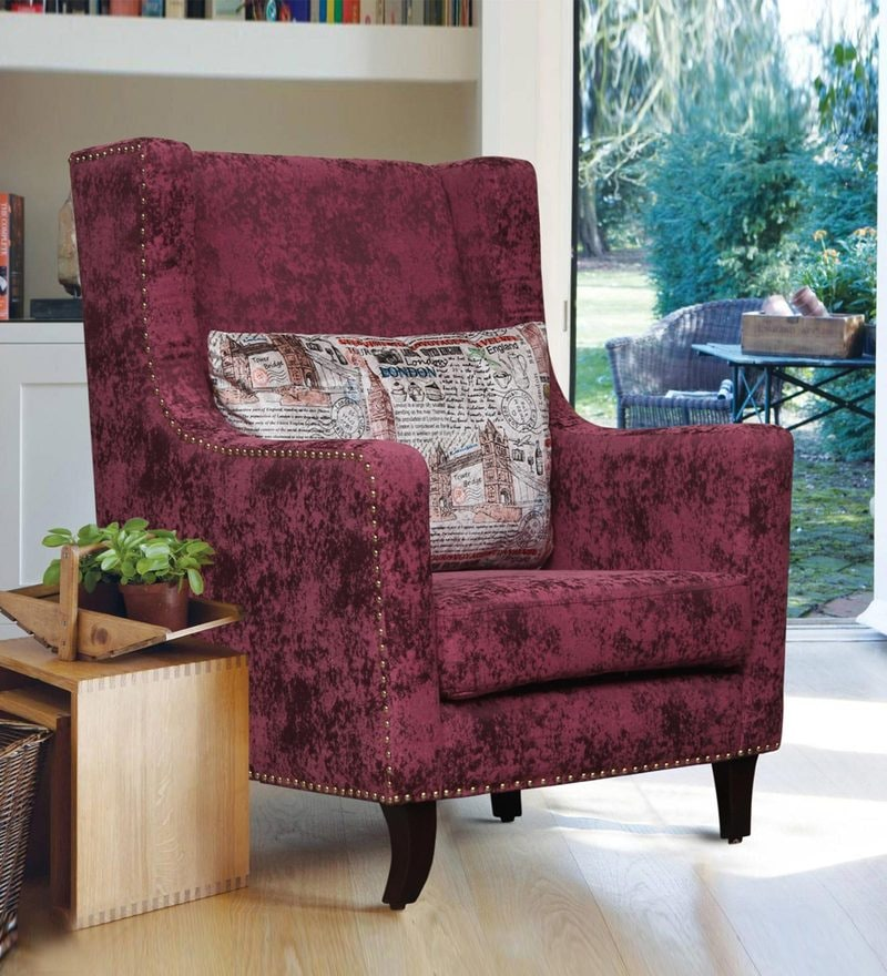 crystal wing chair in purple colour by peachtree