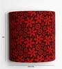 Flowers Design Red Half Shade Fabric Wall Lamp by Craftter