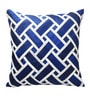 Blue & White Polyester 16 x 16 Inch Self Design Cushion Cover by Creative Homez