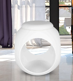 Cushioned Stool In White Colour