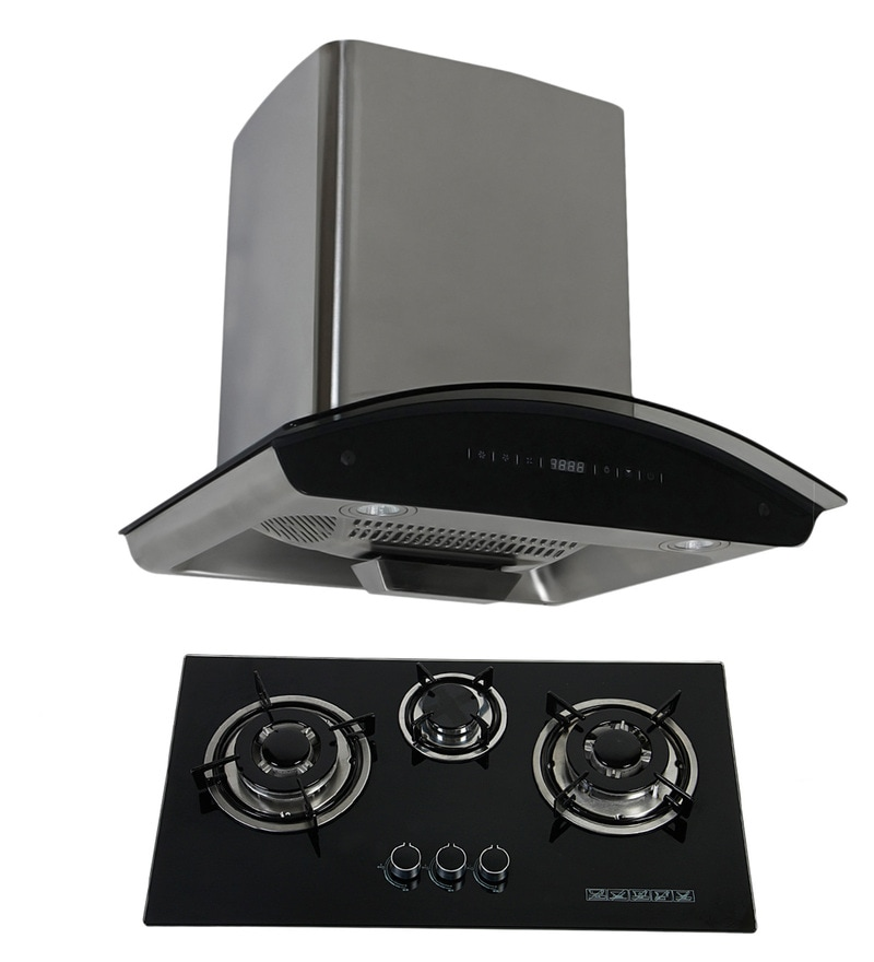 Cubix 1007 60 Cm Hood Chimney and 3-Burner AI Hob Combo