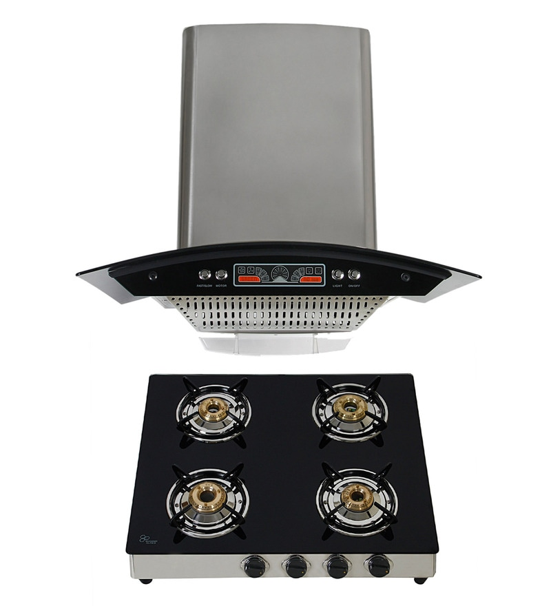 Cubix 1008 Oil Collector 60 Cm Hood Chimney & 4-Burner Ai Hob Combo