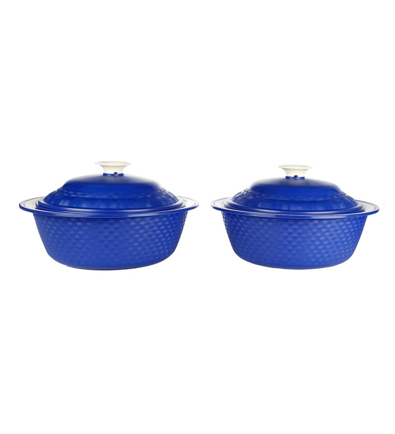Cutting Edge Carnation Microwave Safe Electric Blue Polypropylene 1.8 L Double Walled Casseroles - Set of 2