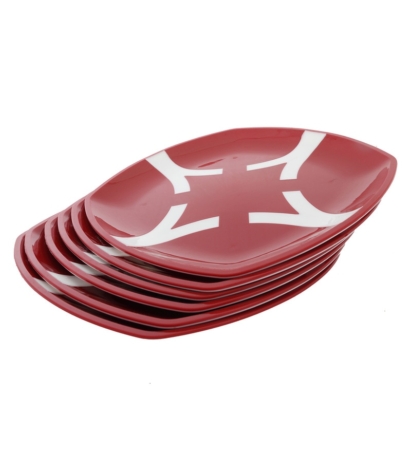 Cutting Edge Microwave Safe Red & White Polypropylene Dinner Plates - Set of 6
