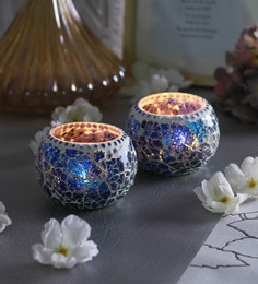 Dark Blue Glass Chip Doom Tea Light Holders  - Set Of 2