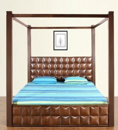 David Queen Bed with Storage in Dark Walnut Finish by @Home at pepperfry