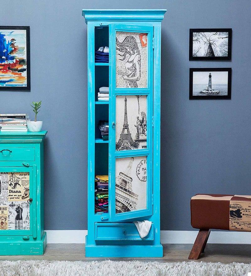 Daft Slim Wardrobe in Azure Blue Finish by Bohemiana