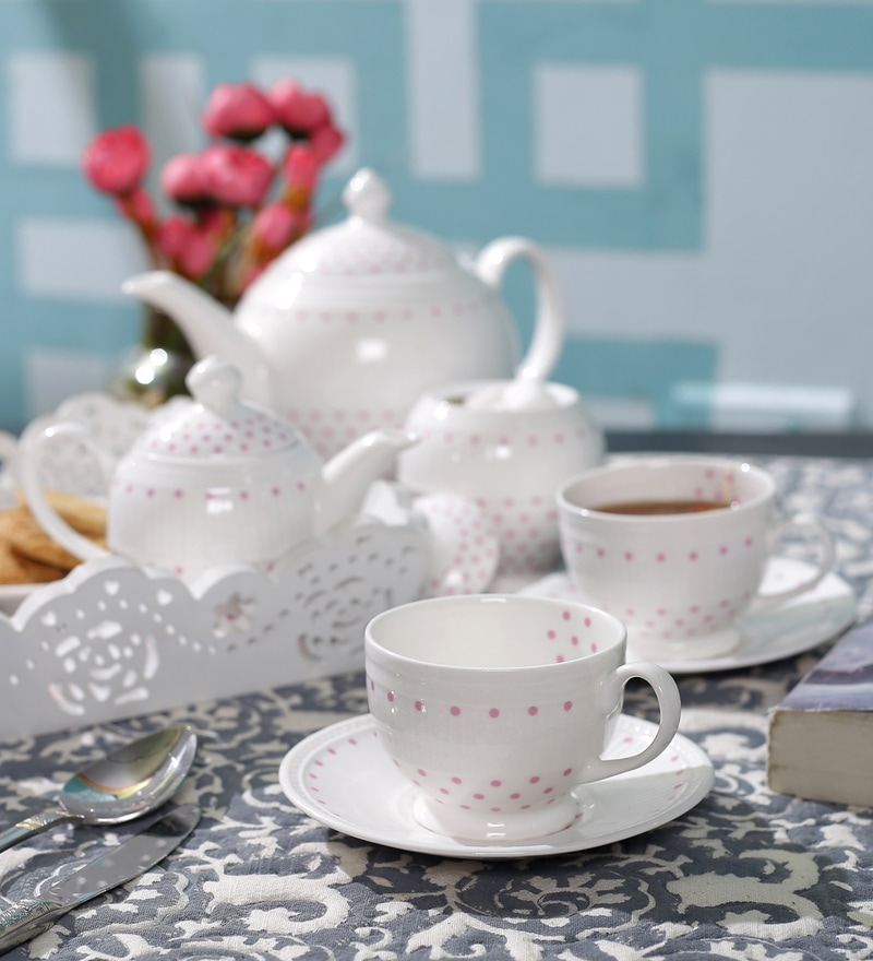 Dandy Lines Crown Blush Bone China Tea Set - Set of 15