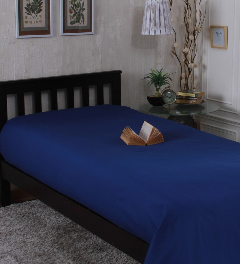 Dark Blue Cotton Single Size Bedsheet by Milano Home