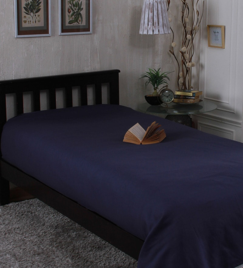 Dark Blue Linen Single Size Bedsheet by Milano Home