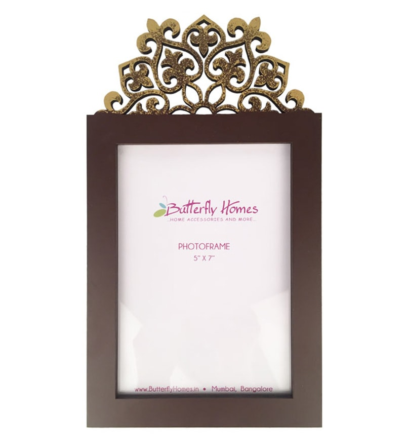 Dark Brown Wood 6 x 6 x 10.5 Inch Inch Single Photo Frame by Butterfly Homes
