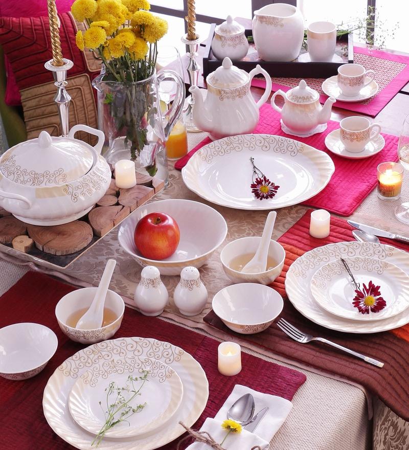 Curls Gold Bone China Dinner Set - Set of 58 by Data Ceramics