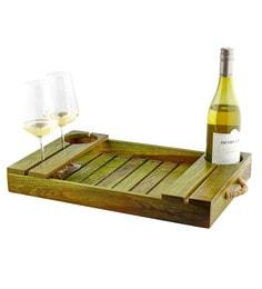 Desi Jugaad Wine Carrier Olive Wood Tray