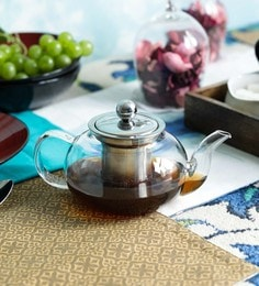 Devnow Bar Daisy Dew Borosilicate Glass & Stainless Steel 500 ML Tea Pot With Strainer