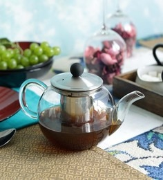 Devnow Bar Marcado Glass Borosilicate Glass & Stainless Steel 950 ML Tea Pot With Strainer