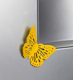 Yellow Metal Decorative Butterfly Fridge Magnet - Set Of 2 - 1602043
