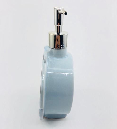 Go Hooked Designer Flower Shape Blue Ceramic Counter Top Soap Dispenser